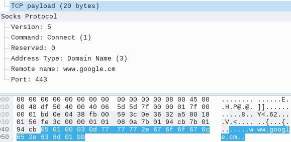 SOCKS 5 TCP CONNECT 指令请求报文