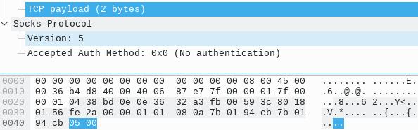 SOCKS 协商认证方式回复数据包 - 抓包截图