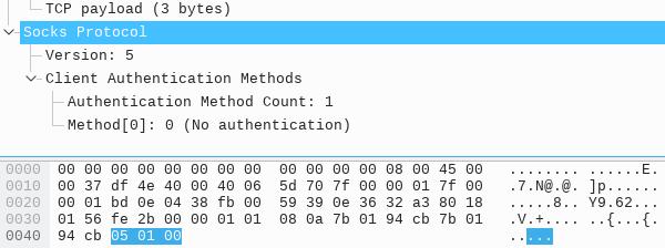 SOCKS 协商认证方式数据包 - 抓包截图