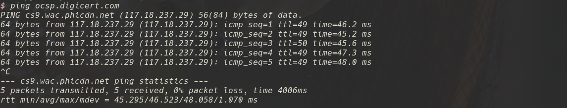 ping digi cert OCSP URL